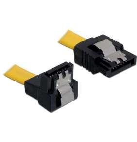 Kabel SATA III 30 cm, přímý/dolů, žlutý, kovová západka