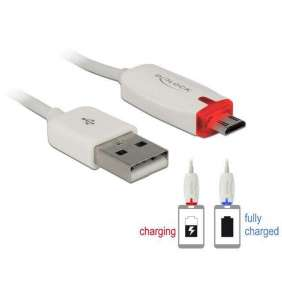 Delock datový a napájecí kabel USB 2.0-A samec   Micro USB-B samec s LED indikátorem, bílý