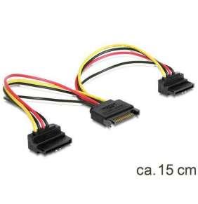 Delock napájecí kabel SATA 15-pin na 2xSATA HDD - pravoúhlý