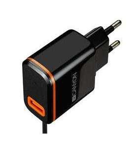 Canyon CNE-CHA042BO, univerzálna nabíjačka do steny, 1x USB, 5V/2.1A, integrovaný kábel 1m s konektorom USB-C, čierna
