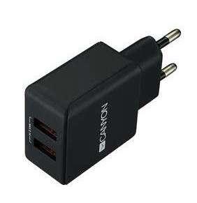 Canyon CNE-CHA03B, univerzálna nabíjačka do steny, 2x USB, 5V/2.1A, ochrana proti prepätiu, čierna