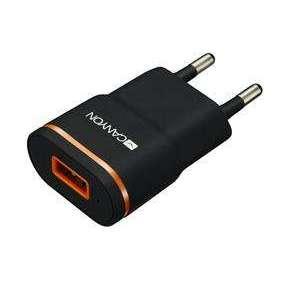 Canyon CNE-CHA01B, univerzálna nabíjačka do steny, 1x USB, 5V/1A, ochrana proti prepätiu, čierna