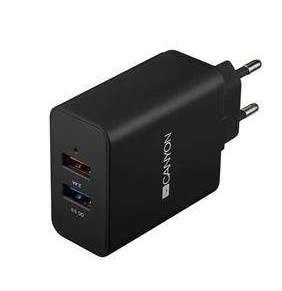Canyon CNE-CHA07B, prémiová univerzálna nabíjačka do steny, 2x USB, QC 3.0, + 2.4A, ochrana proti prepätiu, čierna