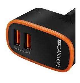 Canyon CNE-CHA02B, univerzálna nabíjačka do steny, 2x USB, 5V/2.1A, ochrana proti prepätiu, čierna s oranžovým pruhom