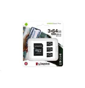 Kingston 64GB micSDXC Canvas Select Plus 100R A1 C10 - 3 ks + SD adaptér