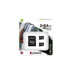 Kingston 64GB micSDXC Canvas Select Plus 100R A1 C10 - 2 ks + SD adaptér