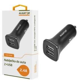 Aligator nabíječka do auta, 12/24 V, 2,4 A, 2x USB výstup, černá