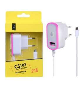 Aligator Nabíječka PLUS CS102, kabel MicroUSB + USB výstup 5V/2,1A - růžová