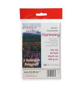 Fotopapier MORE pre ink-jet Harmony 180g/m2, matt, jednostranný matný vysoko kontrastný, 10x15 cm, 20 listov