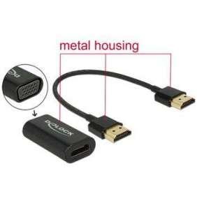 Delock Adaptér HDMI-A samec   VGA samice kovové pouzdro s 15 cm kabelem