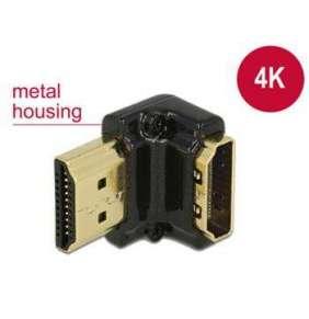Delock Adaptér High Speed HDMI s Ethernetem – HDMI-A samice   HDMI-A samec 4K 90° pravoúhlý dolů černý