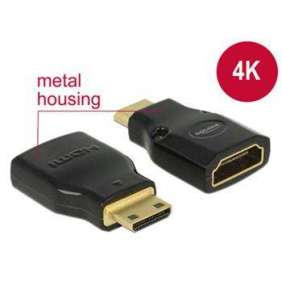 Delock Adaptér High Speed HDMI s Ethernetem – HDMI Mini-C samec   HDMI-A samice 4K černý