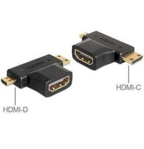 Delock adaptér HDMI-A samice   HDMI-C + HDMI-D samec