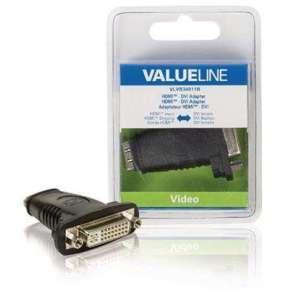Valueline VLVB34911B - adaptérem High Speed HDMI s Ethernetem HDMI zásuvka - DVI-D 24+1p zásuvka, černá