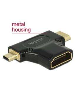 Delock Adapter High Speed HDMI with Ethernet – HDMI-A female   HDMI Mini-C male + Micro-D male black