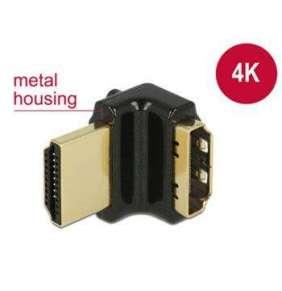 Delock Adaptér High Speed HDMI s Ethernetem – HDMI-A samice   HDMI-A samec 4K 90° pravoúhlý nahoru černý