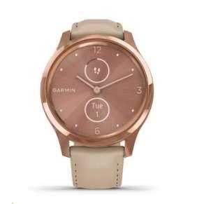 Garmin monitorovací náramek a hodinky vivomove Luxe, 18K Rose Gold-Light Sand, Leather