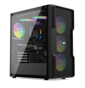 SilentiumPC skříň MidT Regnum RG6V EVO TG ARGB / 2x USB 3.0 / 4x 120mm ARGB fan / tvrzené sklo / černá