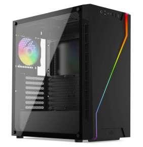 SilentiumPC skříň MidT Armis AR6Q EVO TG ARGB / 2x USB 3.0 / 2x 120 mm fan / tvrzené sklo / A-RGB podsvícení / černá