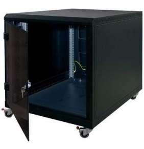 """19"""" kontejner.rack12U,hl.900,nosn.200kg,přední+zadní perfor.dveře, černý"""