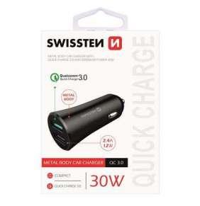 SWISSTEN CL ADAPTÉR QUICK CHARGE 3.0 + USB 2,4A 30W METAL ČERNÝ