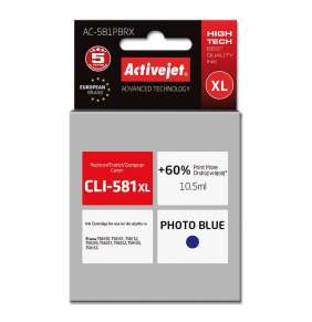 ActiveJet ink for Canon CLI-581PB XL rem AC-581PBRX Photo Blue 10,5 ml Remanufactured