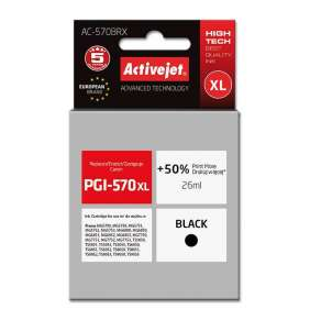 Atrament ActiveJet pre Canon PGI-570Bk XL AC-570BRX Black 26 ml