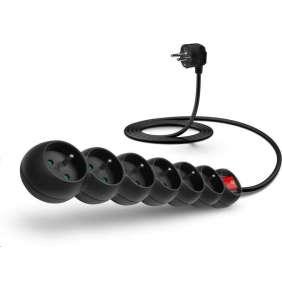 CONNECT IT prodlužovací kabel 230 V, 6 zásuvek, 5 m, s vypínačem (černý)