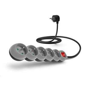 CONNECT IT prodlužovací kabel 230 V, 6 zásuvek, 3 m, s vypínačem (šedá)