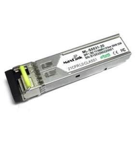 MaxLink 1.25G SFP optický modul, WDM, SM, Tx 1550/Rx1310nm, 20km, 1x LC konektor, DDM, Cisco compatible