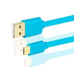 AXAGON - BUMM-AM02QL, HQ Kabel Micro USB  -  USB A, datový a nabíjecí 2A, modrý, 0.2 m