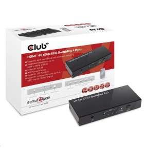 Club3D Video switch 4:1 HDMI 2.0 4K60Hz UHD, 4 porty