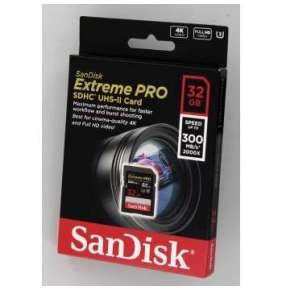 SanDisk Extreme Pro 32GB SDHC / CL10 / UHS-II U3 / 300mb/s