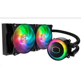 Cooler Master vodní chladič MasterLiquid ML240R RGB, 277mm x 120mm radiátor, 2 x 120mm RGB ventilátory, Univ. socket