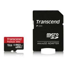 Transcend 16GB microSDHC UHS-I 400x Premium (Class 10) paměťová karta (s adaptérem)