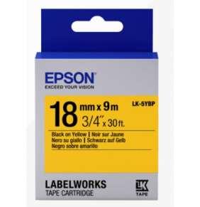 Epson Label Cartridge Pastel LK-5YBP Black/Yellow 18mm (9m)
