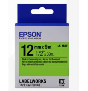Epson Label Cartridge Fluorescent LK-4GBF Black/Green 12mm (9m)