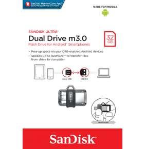 SanDisk Flash Disk 32GB Ultra, Dual USB Drive m3.0, OTG