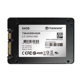 """TRANSCEND SSD452K 64GB Industrial (3K P/E) SSD disk 2.5"""" SATA3, 3D TLC, Aluminium case, 560MB/s R, 520 MB/W, černý"""