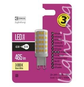 Emos LED žárovka JC, 4.5W/40W G9, WW teplá bílá, 465 lm, Classic A++
