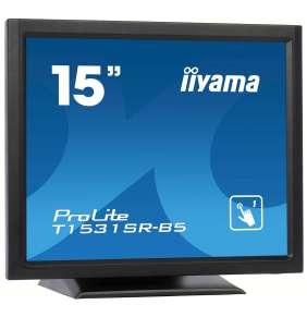 """15"""" iiyama T1531SR-B5 - TN,1024x768,8ms,370cd/m2, 700:1,4:3,VGA,HDMI,DP,USB,repro,výška."""