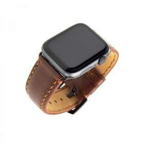FIXED Berkeley kožený remienok pre Apple Watch 42 mm a 44 mm s čiernou sponou, čierny