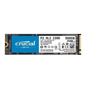 Crucial P2 1000GB SSD, M.2 2280, PCIe Gen3 x4, Read/Write: 2300/940 MB/s, Random Read/Write IOPS: 95K/215K