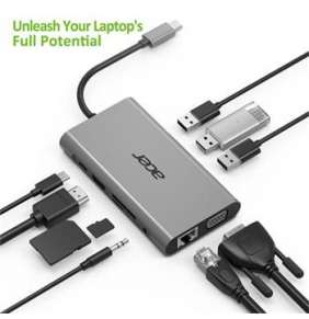 ACER 10IN1 TYPE C DONGLE: 3 X USB 3.0, 1 X HDMI, 1 X VGA, 1 X TYPE C PD, 1 X SD CARD READER, 1 X TF
