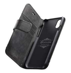 CellularLine Prémiové kožené puzdro typu kniha Supreme pre Apple iPhone XR, čierne