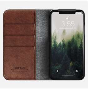 Nomad puzdro Leather Folio pre iPhone X/XS - Rustic Brown