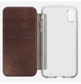 Nomad puzdro Clear Folio pre iPhone X/XS - Rustic Brown