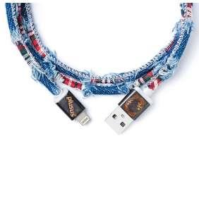 PlusUs kábel LifeStar Premium Lightning to USB 1m - Medium Blue/Red Checks