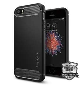 Spigen kryt Rugged Armor pre iPhone SE - Black