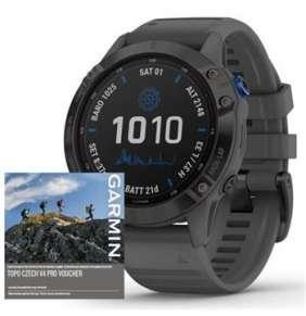 GARMIN GPS chytré hodinky fenix6 PRO Solar, Black/Slate Band (MAP/Music)